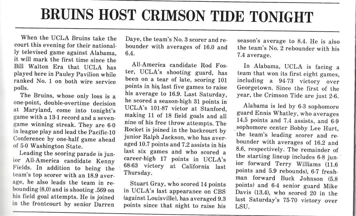 Alabama vs. UCLA 1983, game program