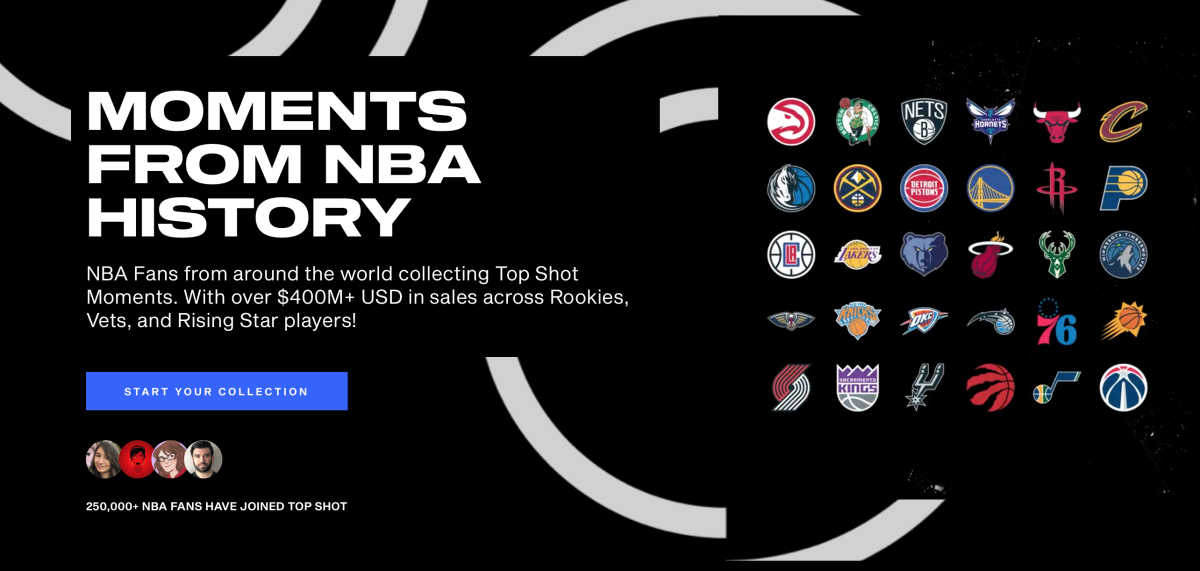 NBA Top Shot Moments webpage