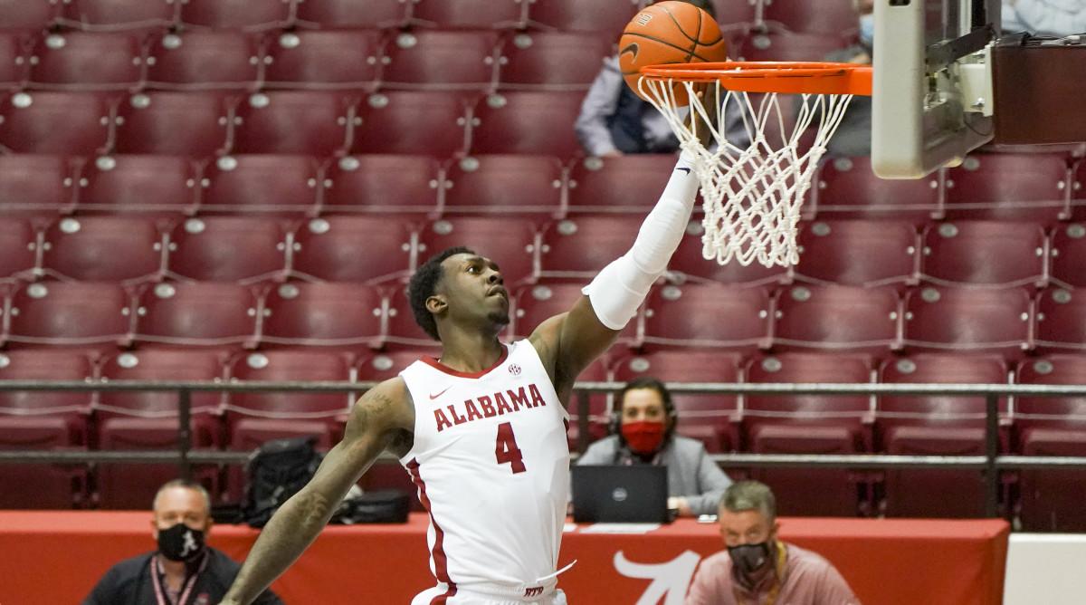 Jan 26, 2021; Tuscaloosa, Alabama, USA; Alabama Crimson Tide forward Juwan Gary (4) goes to the basket against Kentucky Wildcats during the second half at Coleman Coliseum.