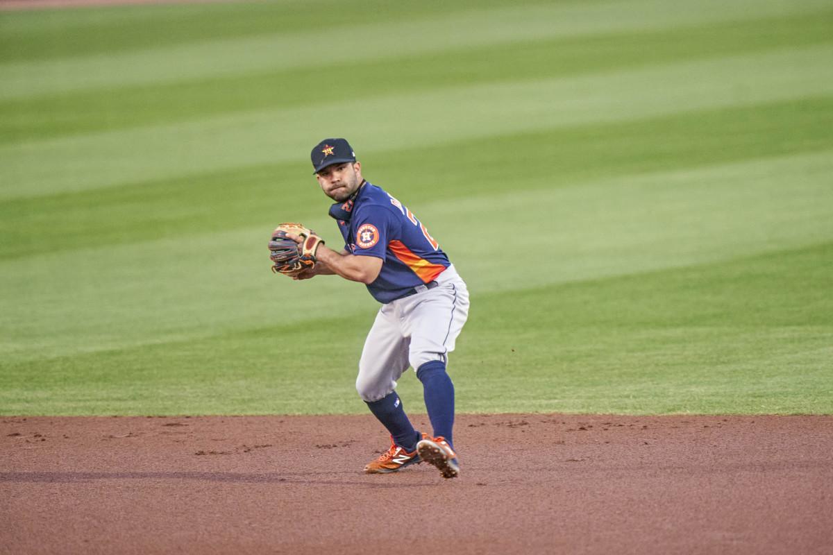 Jose Altuve on the field