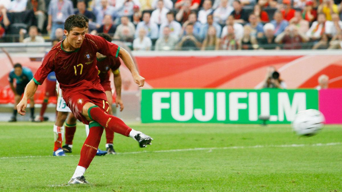 Cristiano Ronaldo scores for Portugal vs. Iran in the 2006 World Cup.