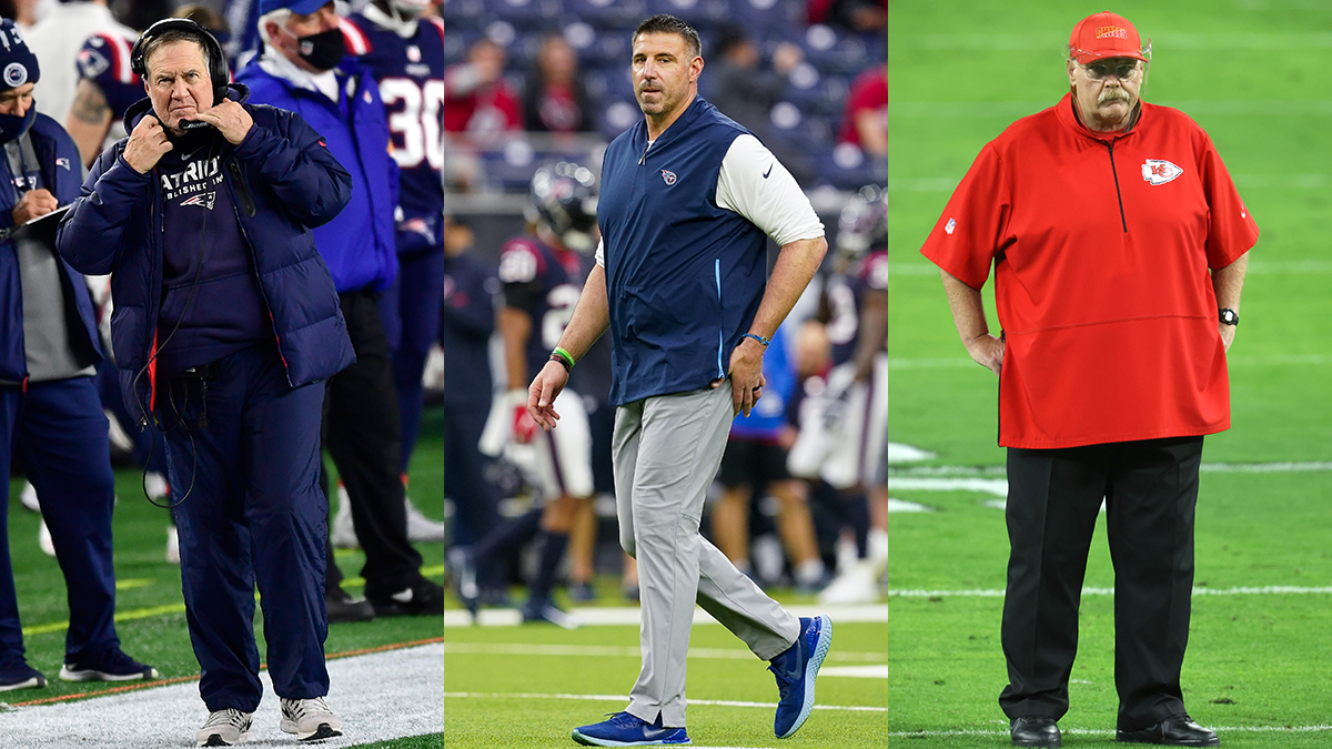 Bill Belichick, Mike Vrabel and Andy Reid