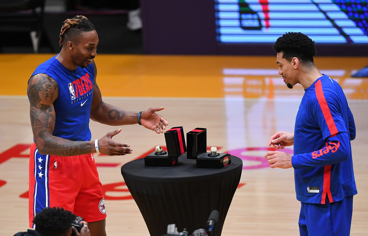 Dwight Howard and Danny Green/USA Today Sports
