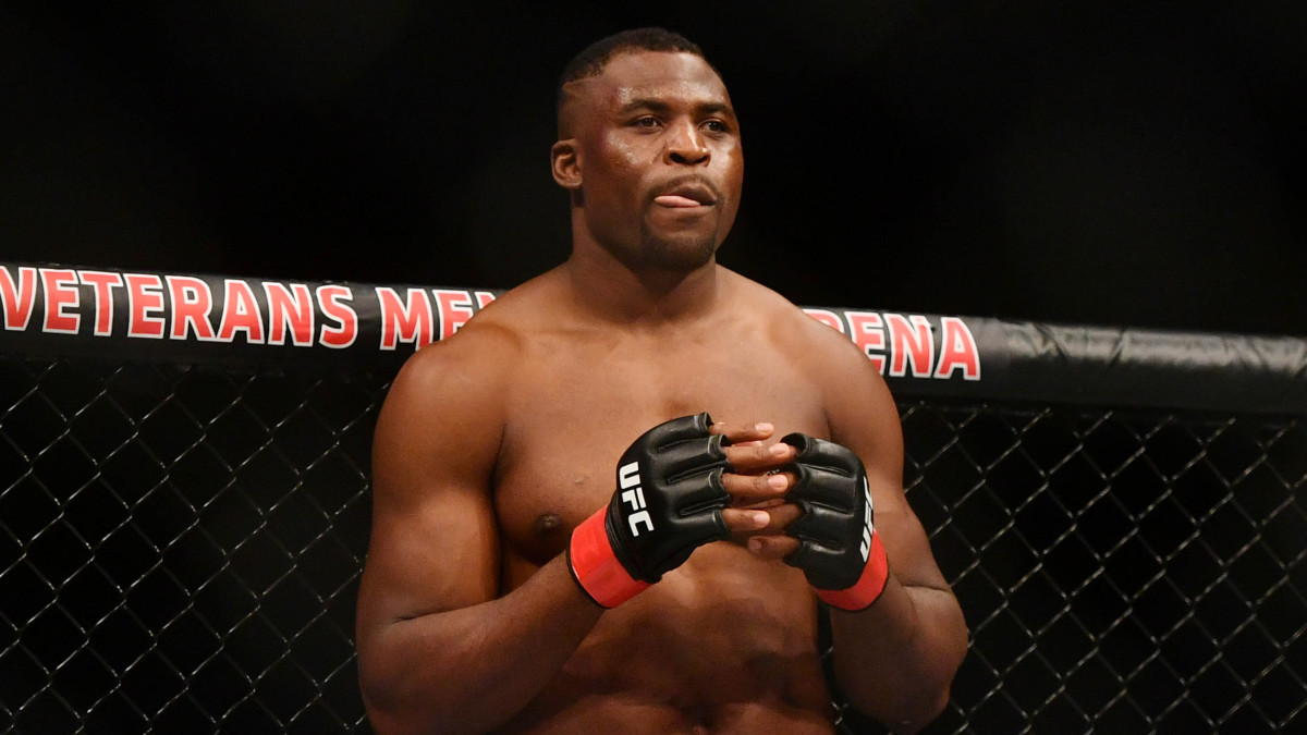 Closeup of UFC fighter Francis Ngannou in the Octagon