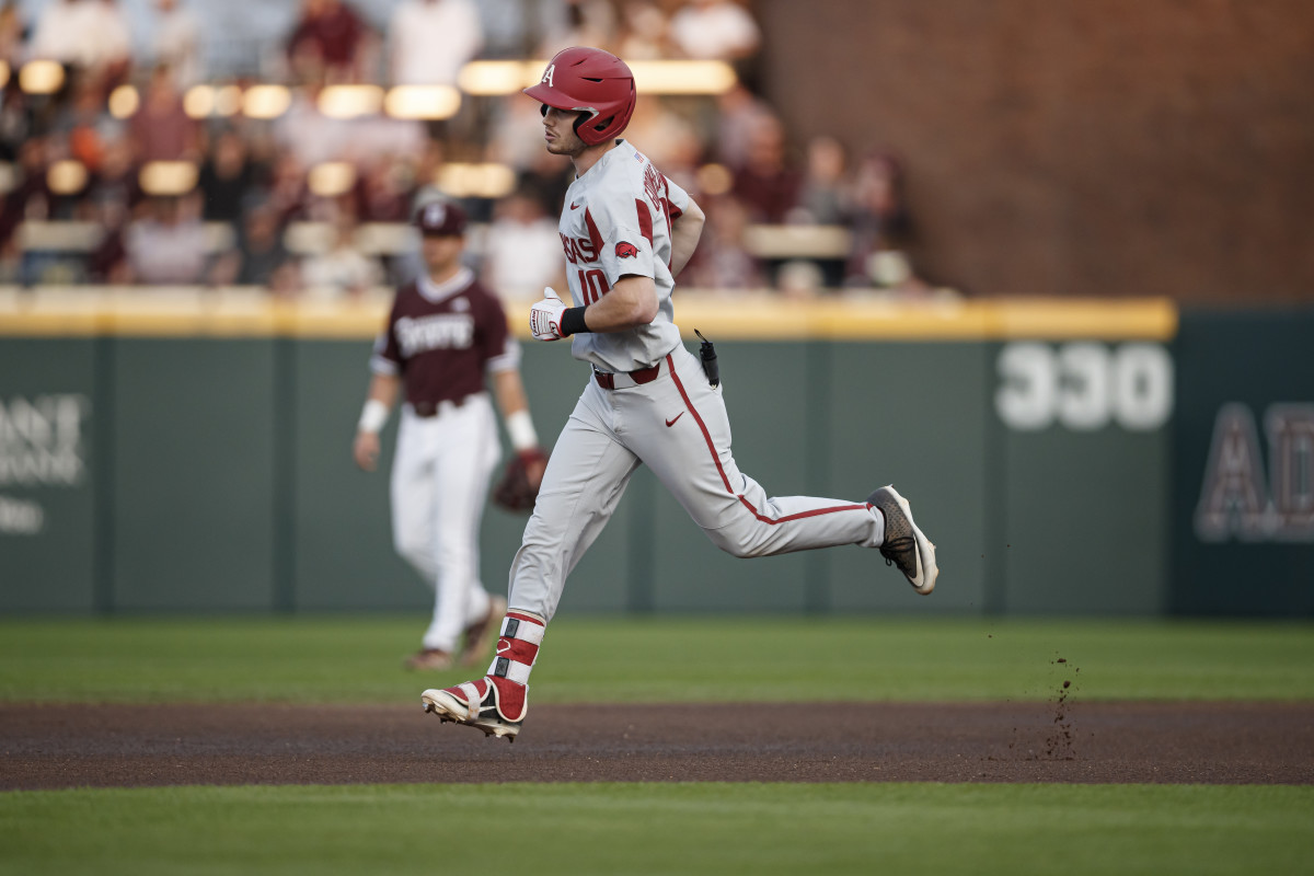 Arkansas designated hitter Matt Goodheart circles the bases for the Razorbacks on Friday as they topped Mississippi State 8-2. (Photo courtesy of Mississippi State athletics)