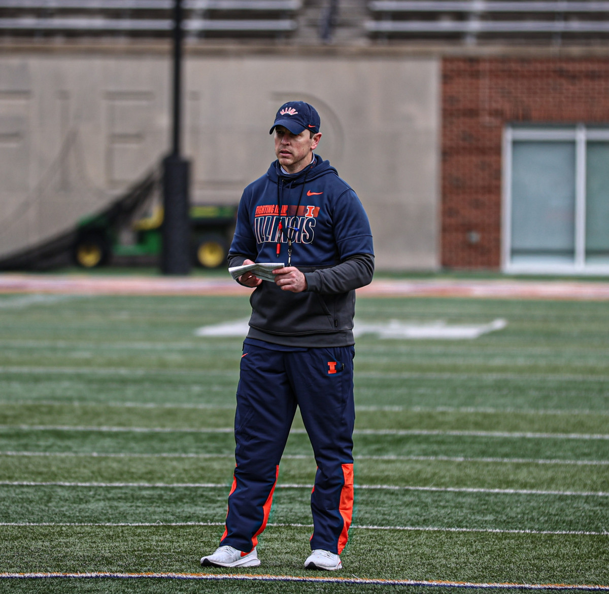 Illinois outside linebacker coach Kevin Kane directing drills during the Illini's second spring practice on Thursday, March 25, 2021. Kane was hired in January to Bret Bielema's first coaching staff at Illinois.