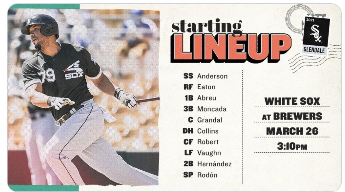 White Sox lineup card