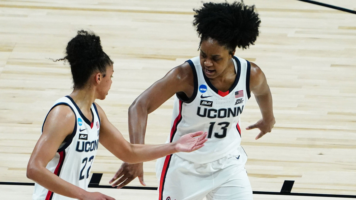 UConn's Christyn Williams (13) and Evina Westbrook