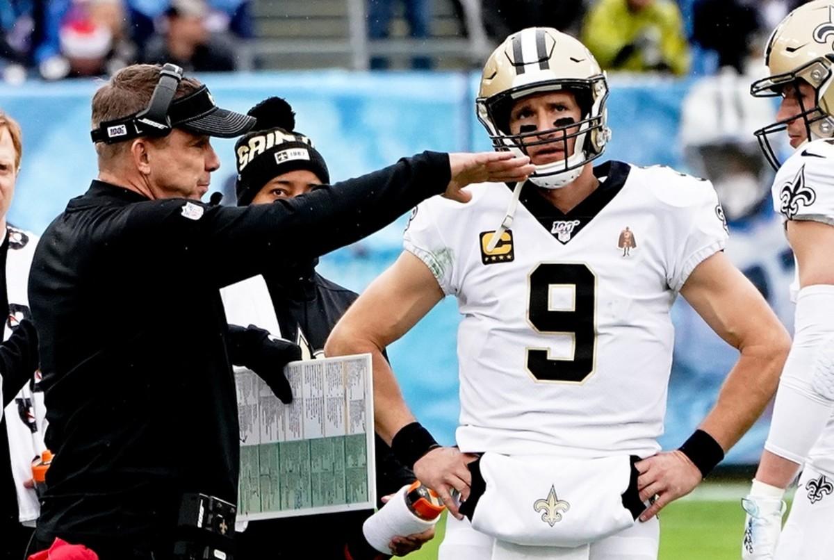 Dec 22, 2019; New Orleans Saints head coach Sean Payton talks with Saints quarterback Drew Brees (9) against the Tennessee Titans. Mandatory Credit: Jim Brown-USA TODAY Sports
