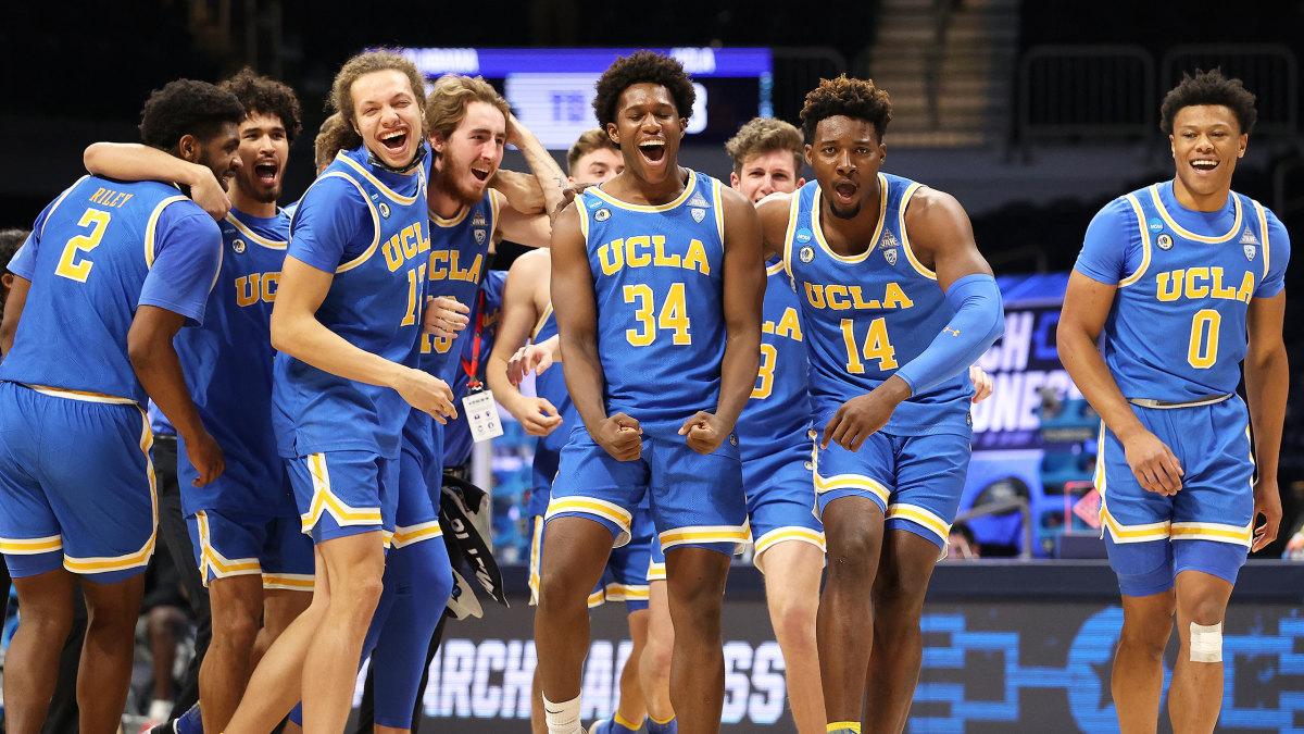 UCLA celebrates after beating Alabama.