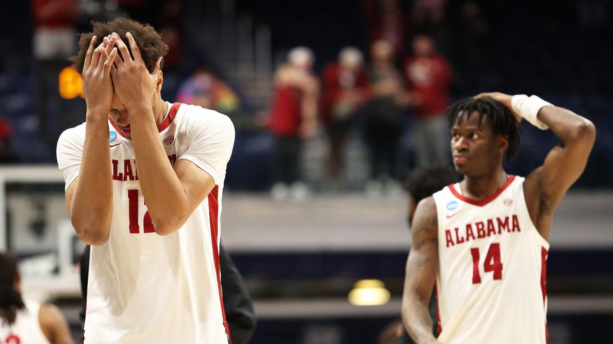Alabama players react after an NCAA tournament loss to UCLA