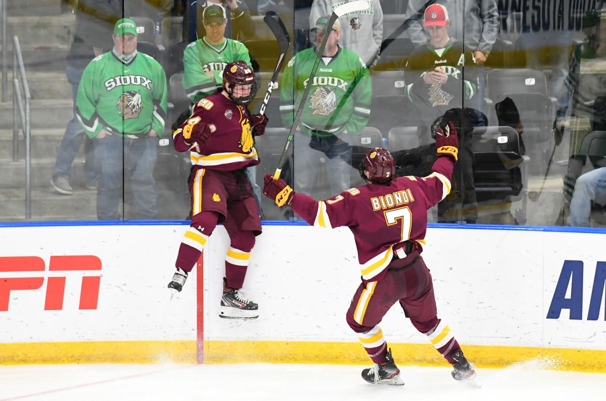 Luke Mylymok and Blake Biondi. Photo courtesy North Dakota Athletics/Russell Hons.