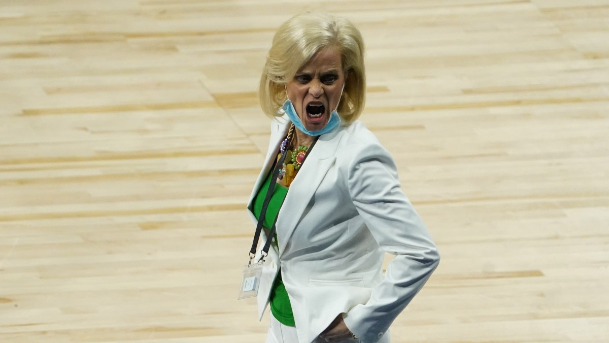 Baylor women's basketball coach reacts during the Elite Eight matchup against UConn