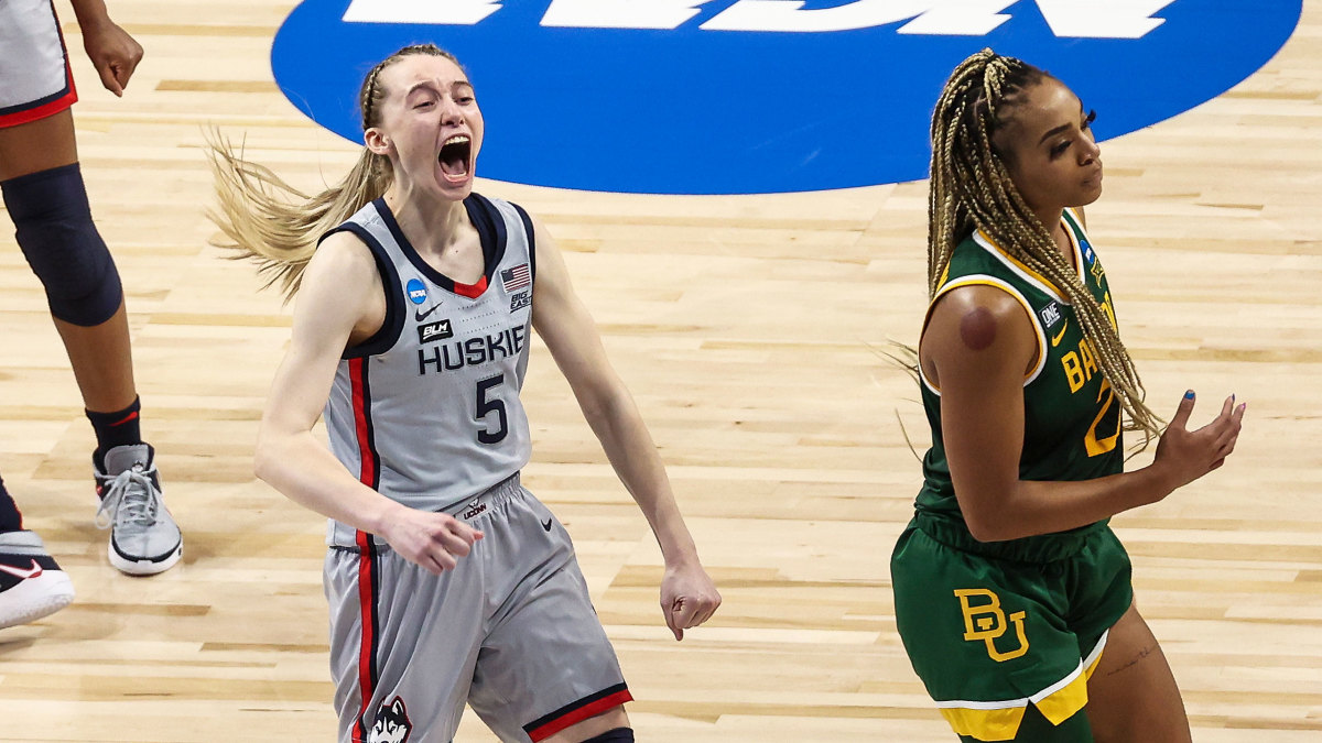 UConn's Paige Bueckers celebrates a win over Baylor