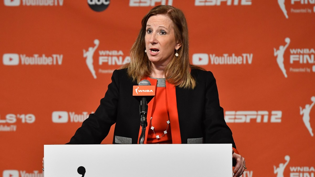 WNBA Commissioner Cathy Engelbert address the media before game one of the 2019 WNBA Finals between the Washington Mystics and the Connecticut Sun at The Entertainment and Sports Arena.