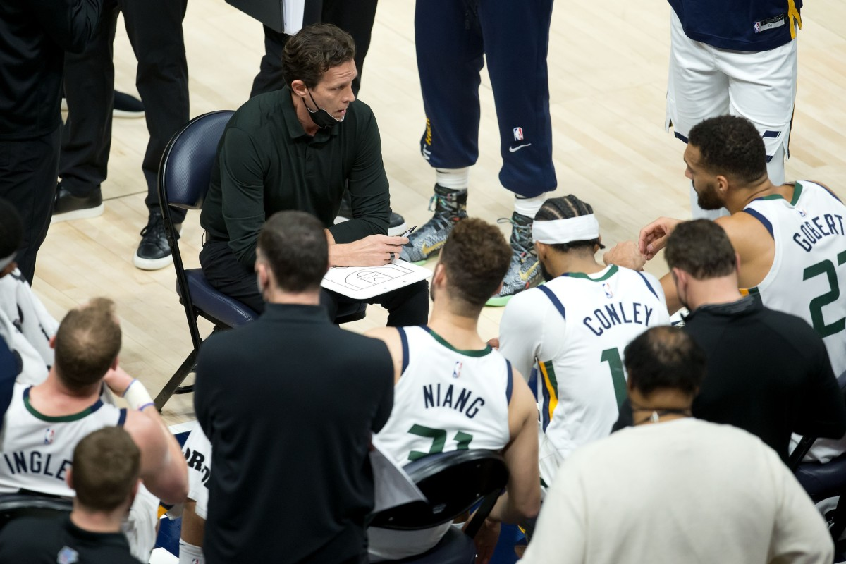 The Utah Jazz take instruction from Head Coach Quin Snyder during a timeout