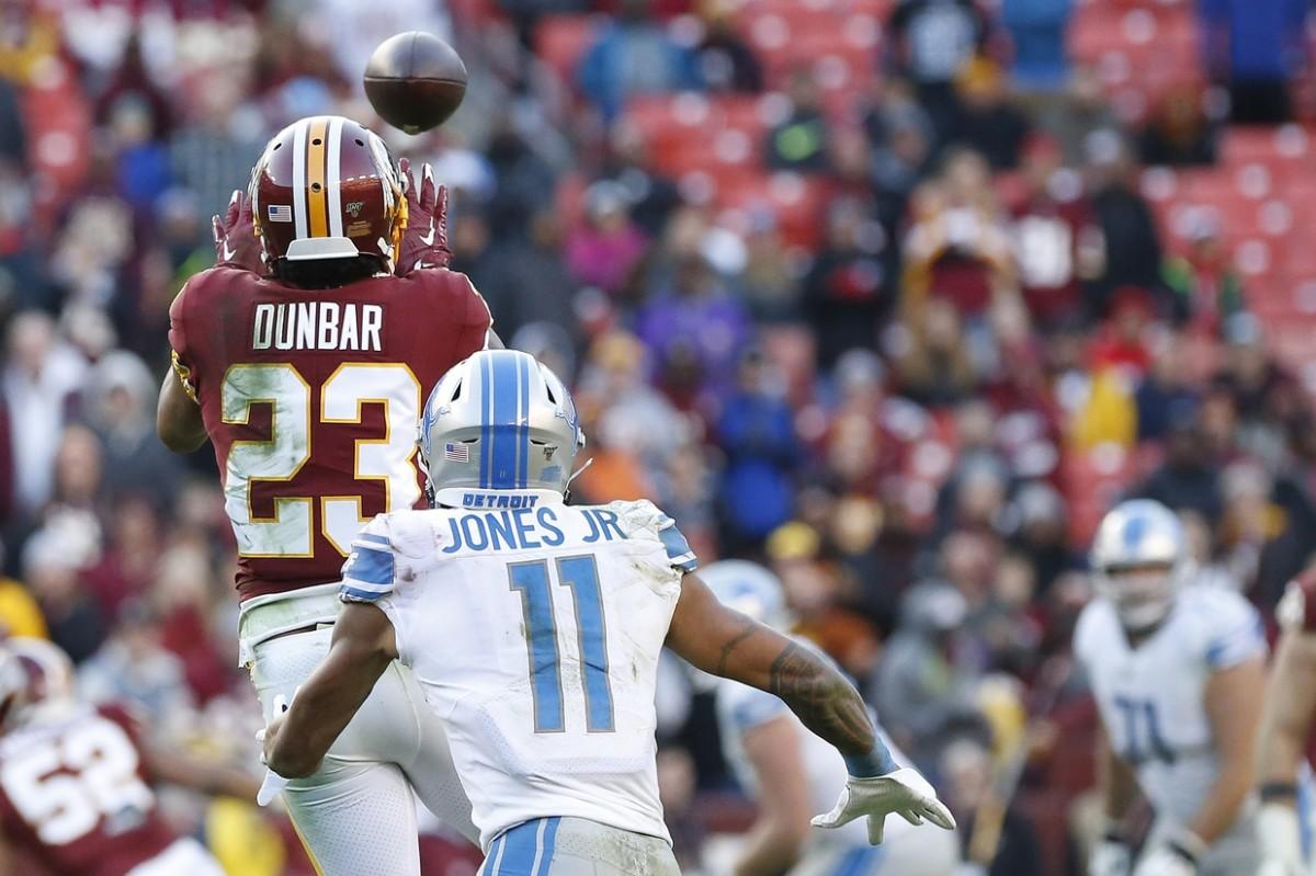Nov 24, 2019; Redskins cornerback Quinton Dunbar (23) intercepts a pass intended for Detroit receiver Marvin Jones (11). Mandatory Credit: Geoff Burke-USA TODAY