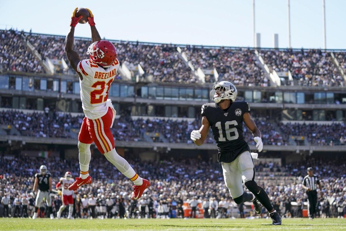 September 15, 2019; Chiefs cornerback Bashaud Breeland (21) intercepts the football against Oakland receiver Tyrell Williams (16). Mandatory Credit: Kyle Terada-USA TODAY