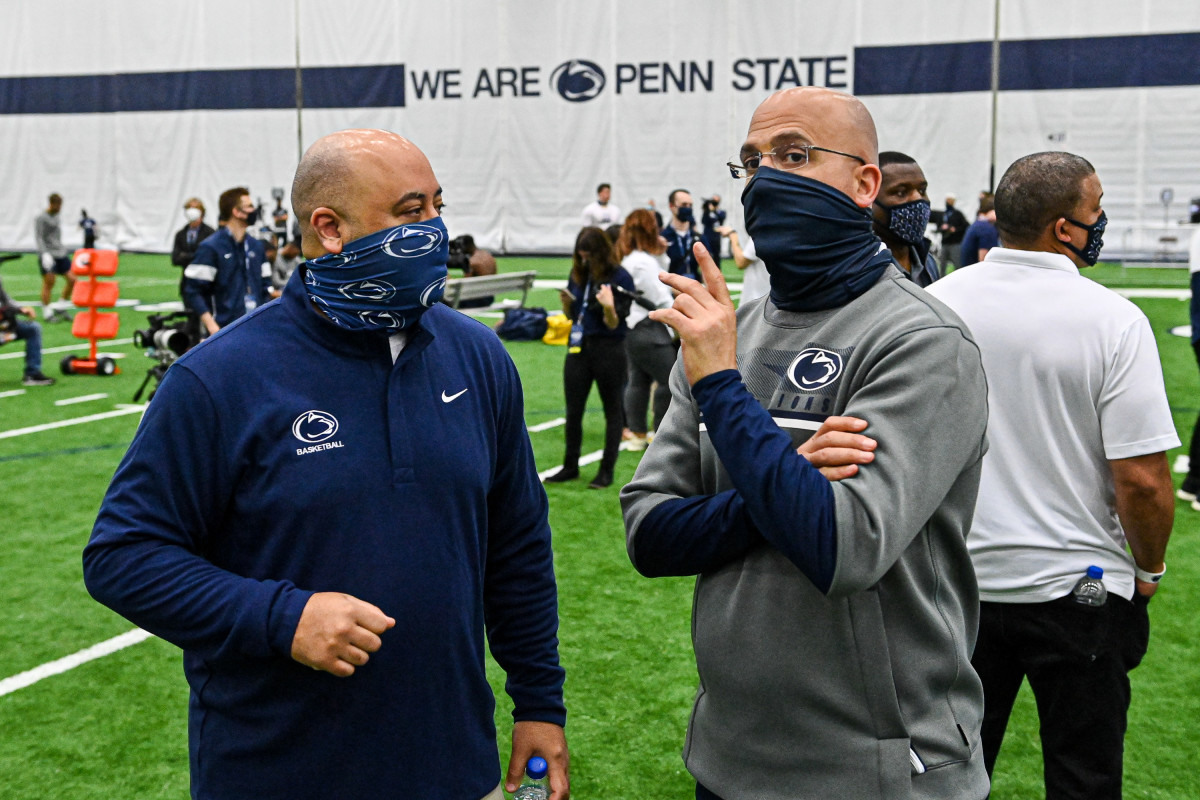 Micah Shrewsberry (left) and James Franklin at Penn State football Pro Day.