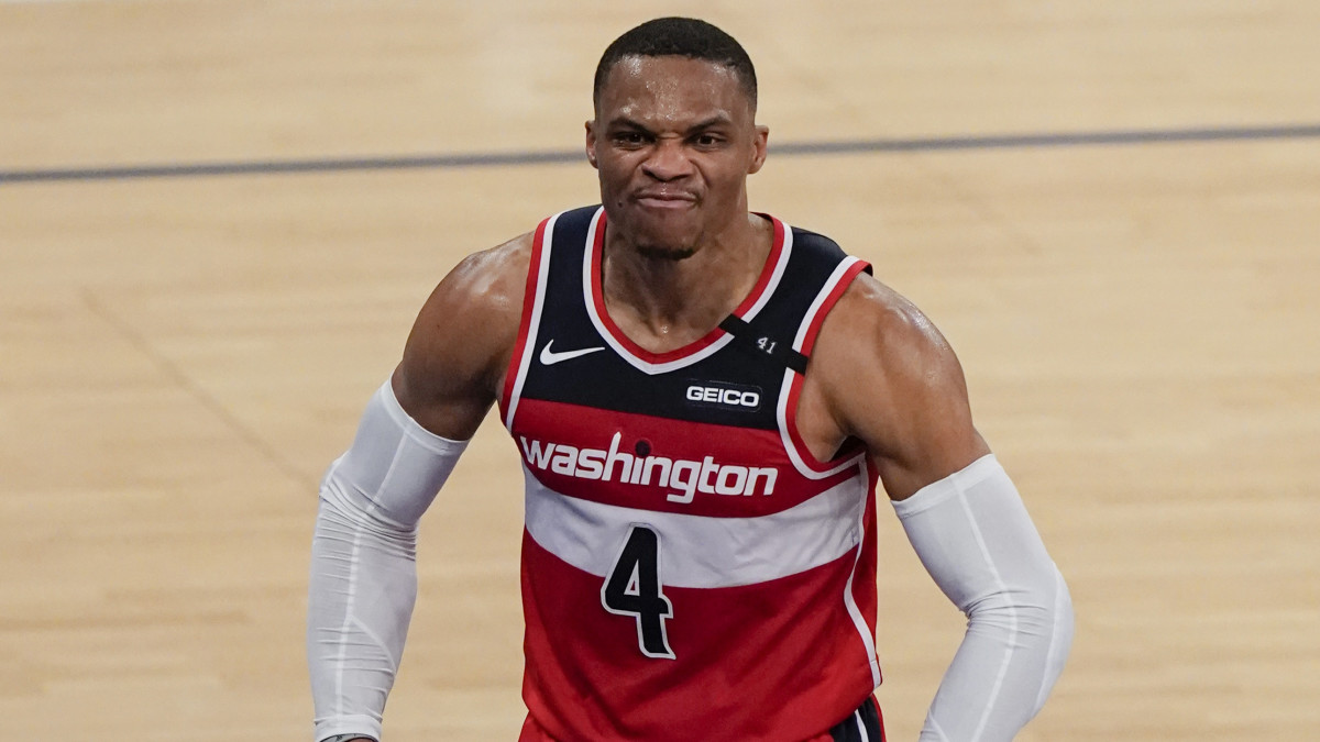 Russell Westbrook reacts after a dunk.