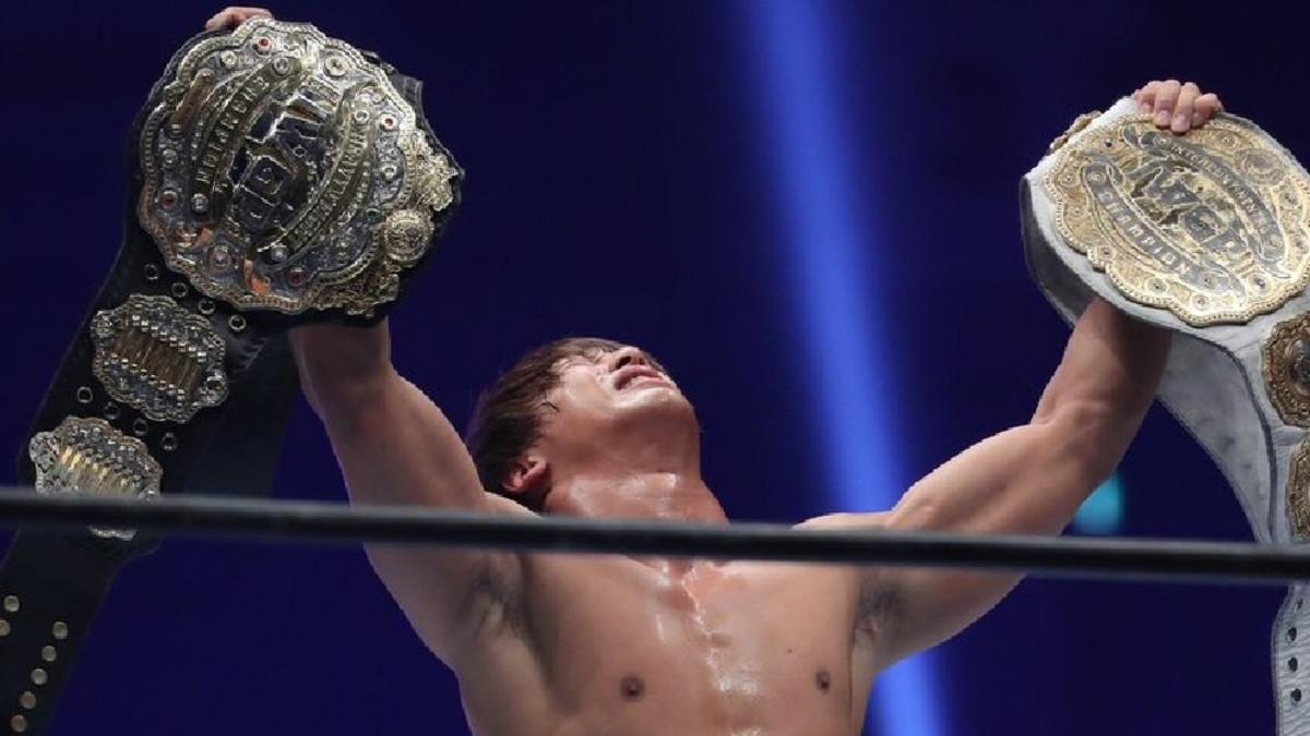 Kota Ibushi celebrates in the ring at Wrestle Kingdom