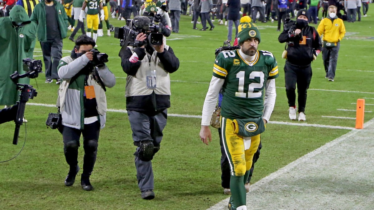 Aaron Rodgers walks off the field following the Green Bay Packers' loss to the Tampa Bay Buccaneers in the NFC Championship Game. For how many more season will Rodgers be the quarterback. (Image: Mike De Sisti/USA TODAY Sports)