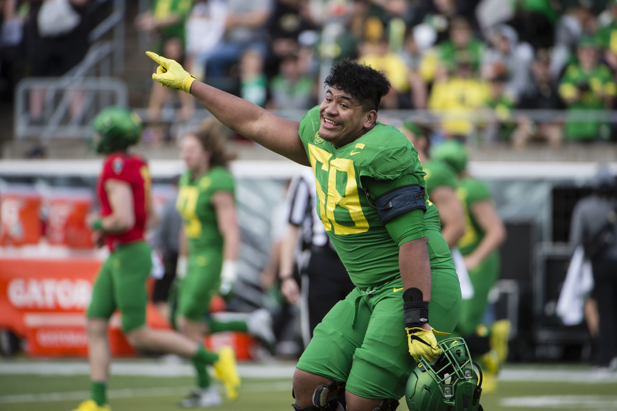 Penei Sewell won the Outland Trophy in 2019 and has been instrumental in rooting Oregon's identity in brutal physicality.