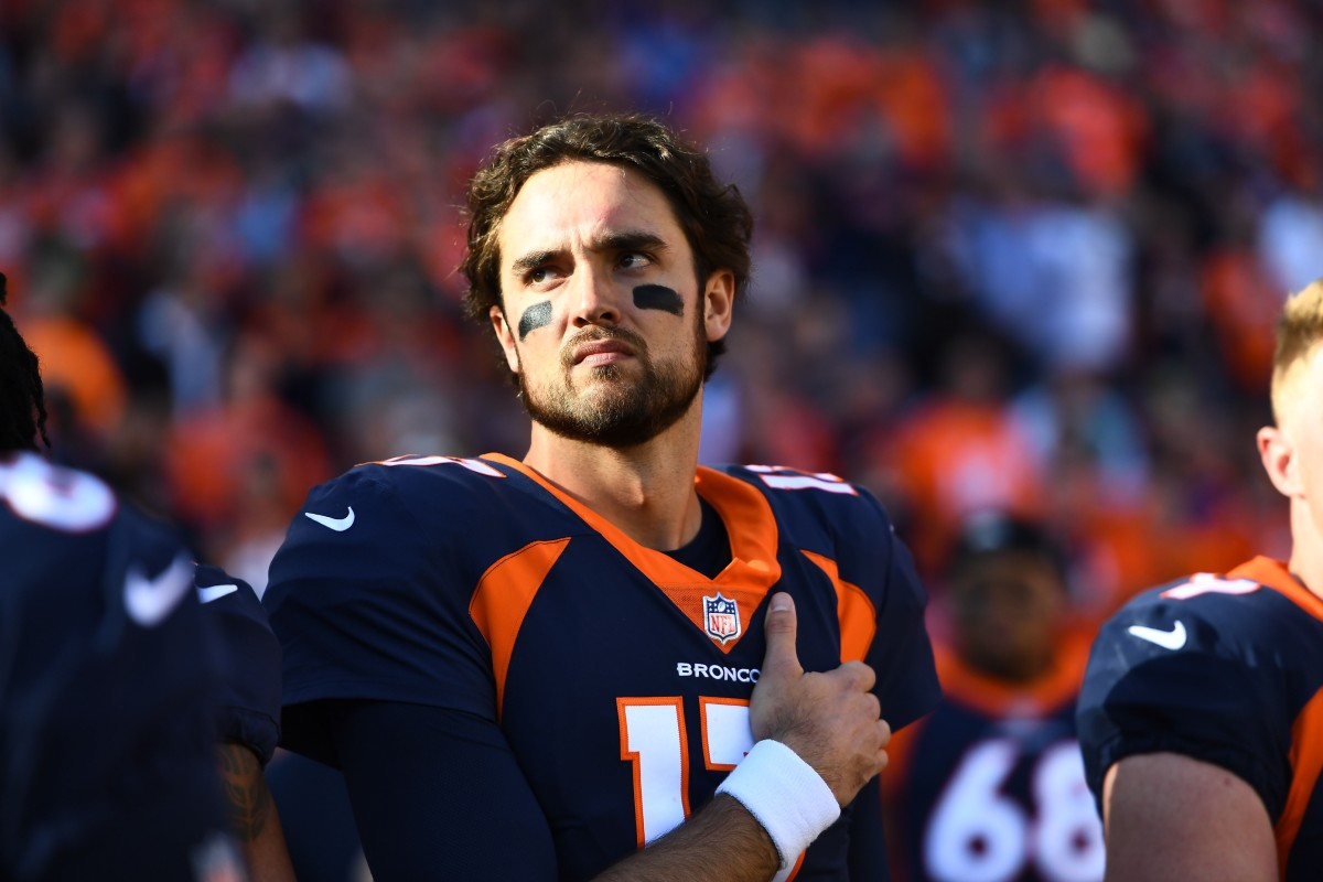 Denver Broncos quarterback Brock Osweiler (17) before the game against the New York Jets at Sports Authority Field at Mile High.
