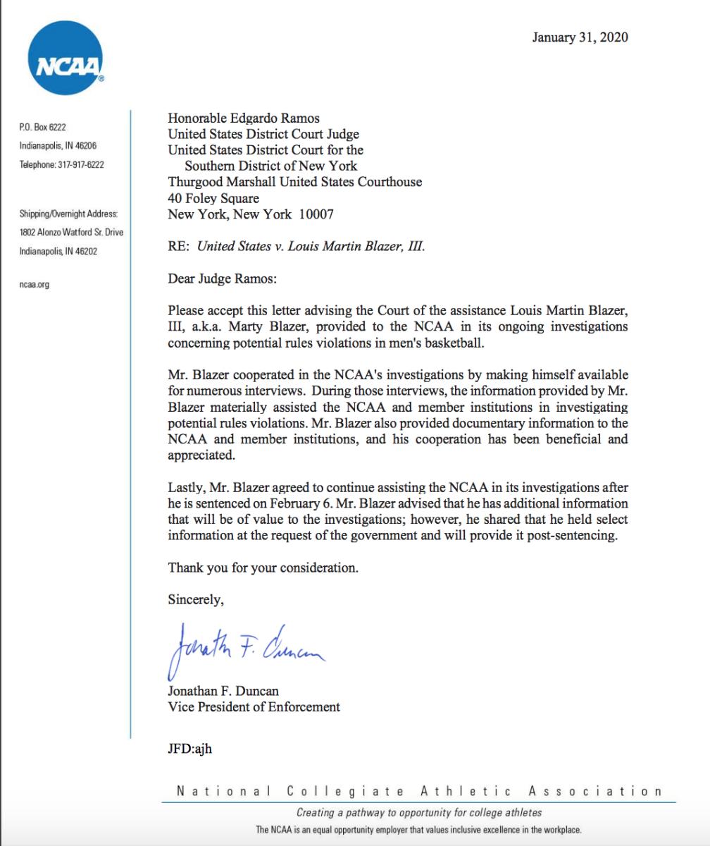 NCAA letter