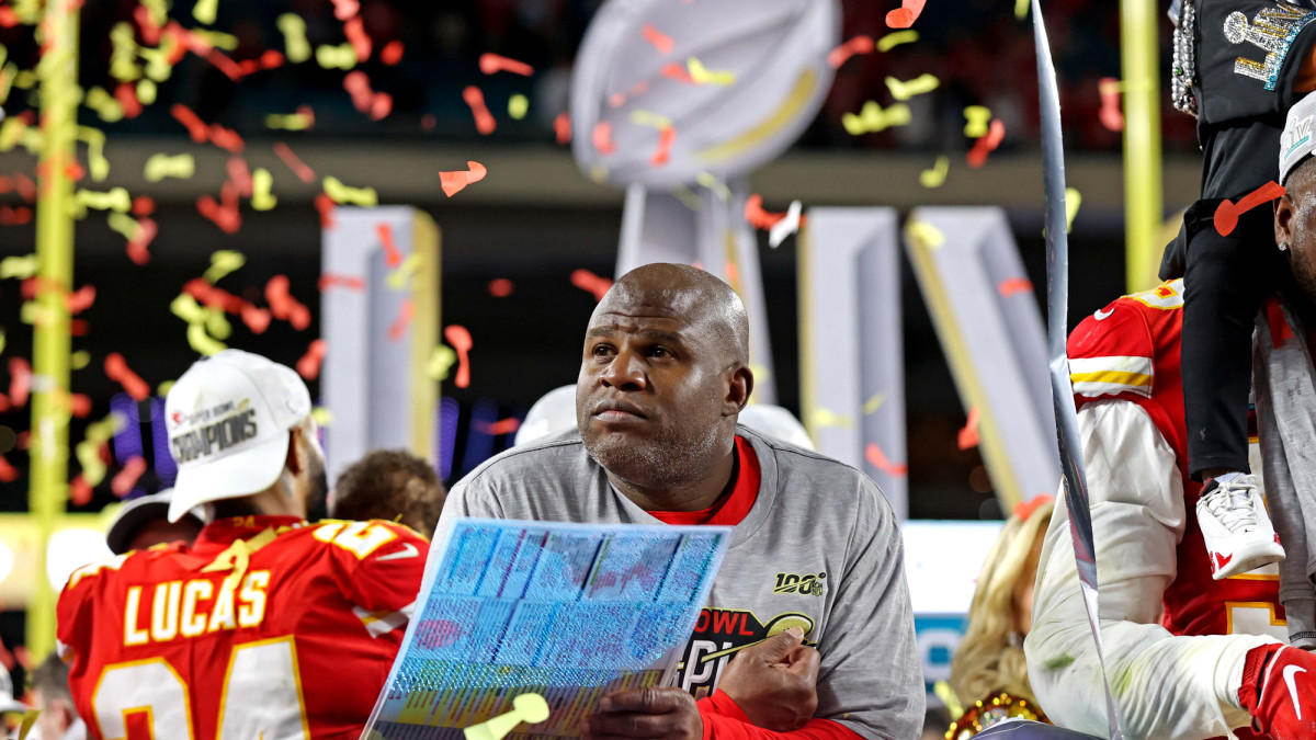 Kansas City Chiefs offensive coordinator Eric Bieniemy reacts after beating the San Francisco 49ers in Super Bowl LIV at Hard Rock Stadium.