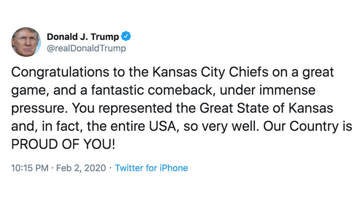 President Trump tweeted congrats to the 'Great State of Kansas' after the Chiefs Super Bowl win.