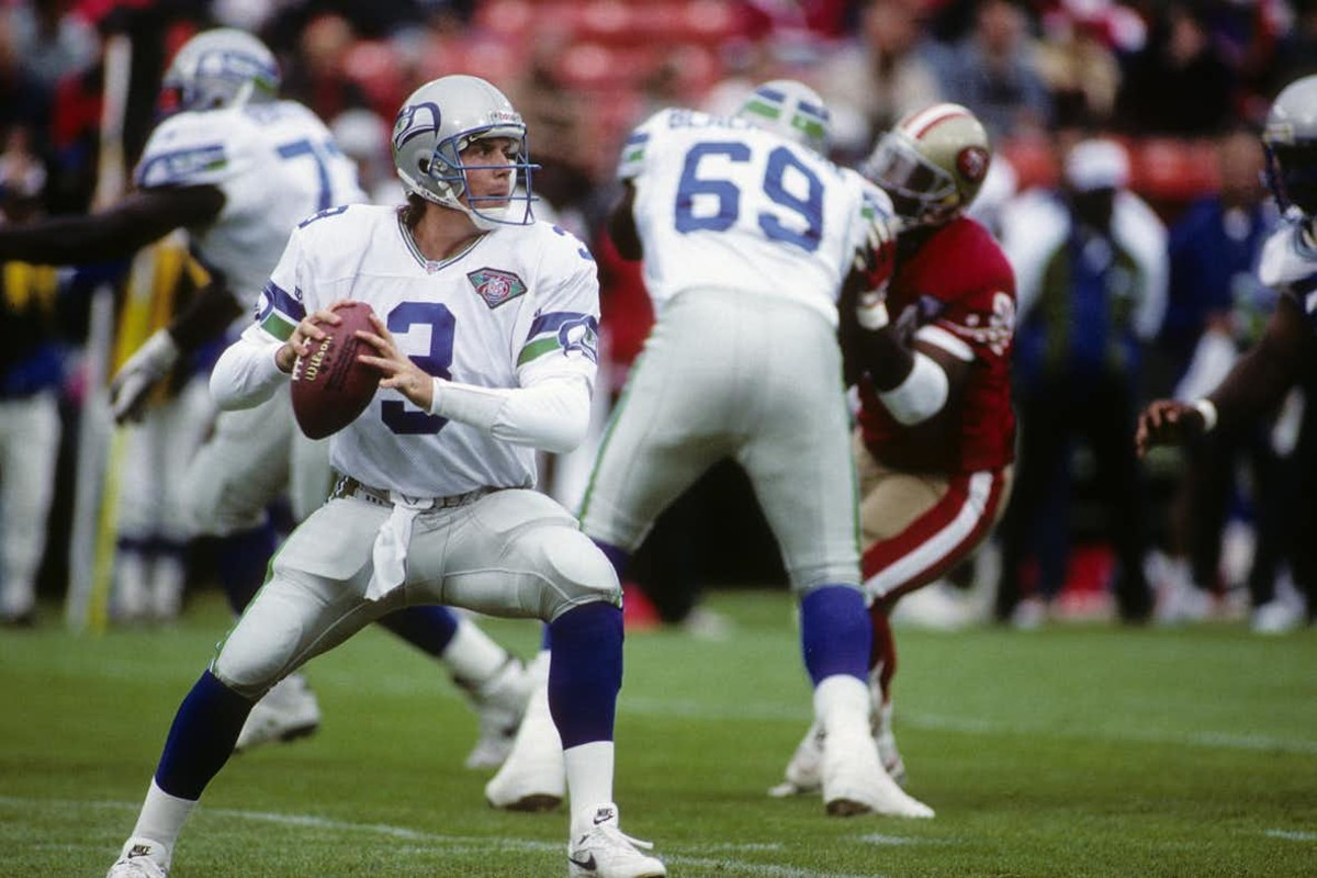 Mirer never finished with a completion percentage above 56 percent and threw 56 interceptions in four seasons with Seattle.