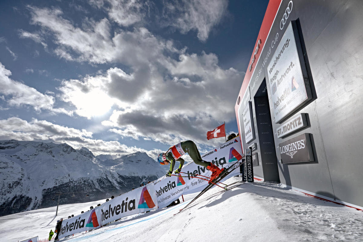 Shiffrin took third in the super G in St. Moritz in December. Photograph by Thomas Lovelock
