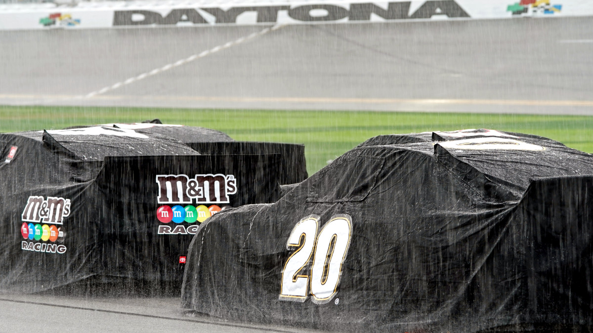 The Daytona 500 was postponed due to rain and will resume on Monday.