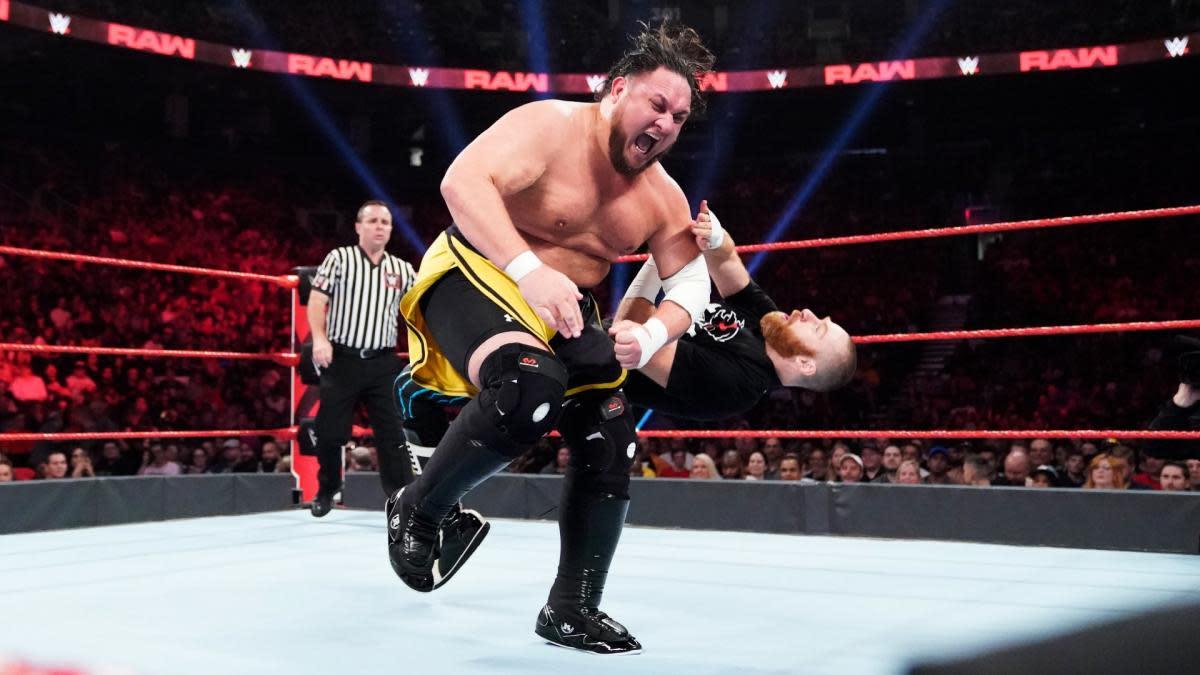 Samoa Joe drops Sami Zayn in a match on WWE Raw