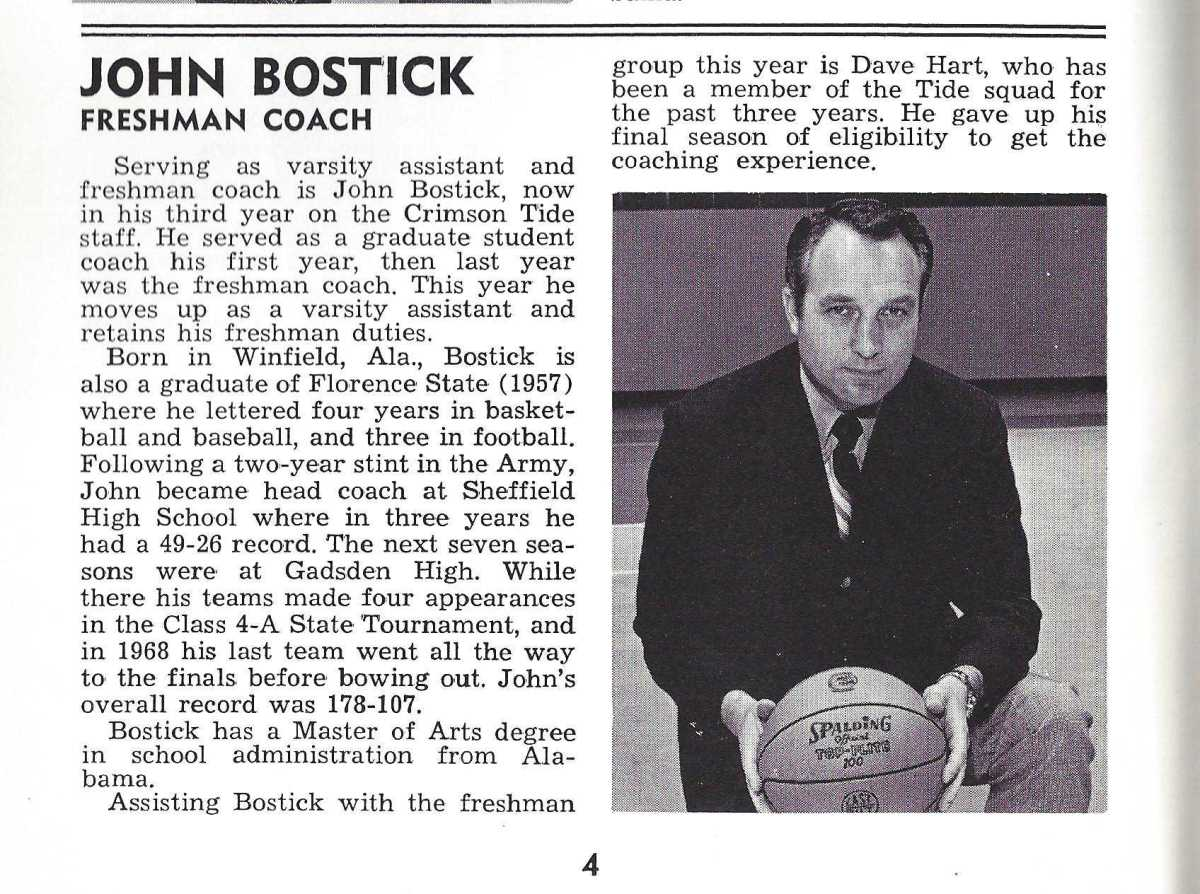 From the 1970-71 Alabama Basketball media guide.