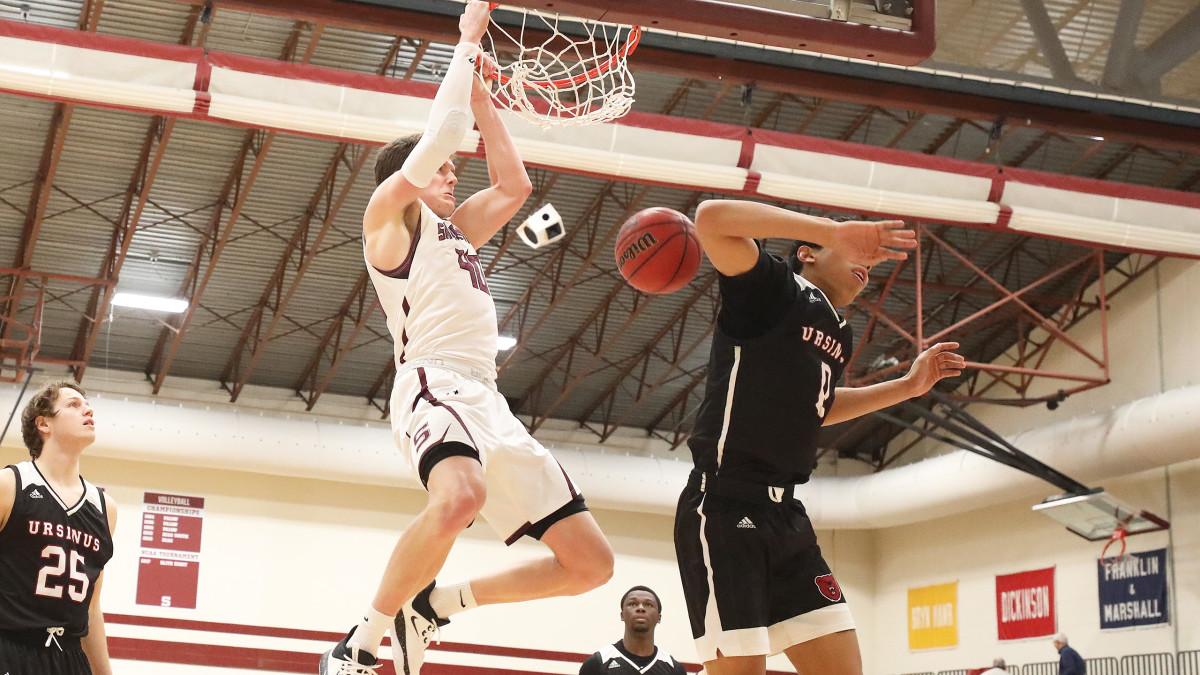Swarthmore senior Nate Shafer dunks during a game against Ursinus.