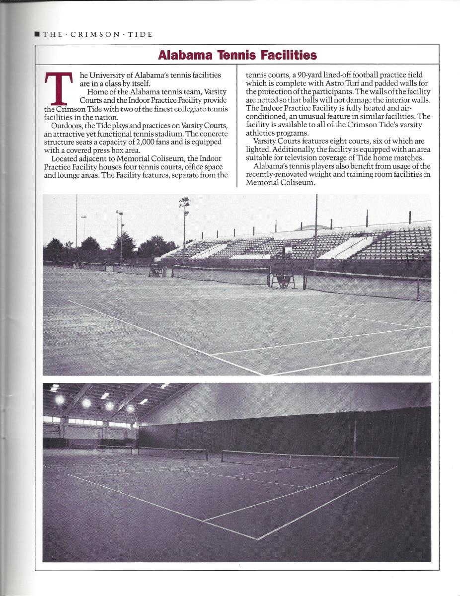 The Crimson Tide tennis facilities have improved tremendously since 1988.