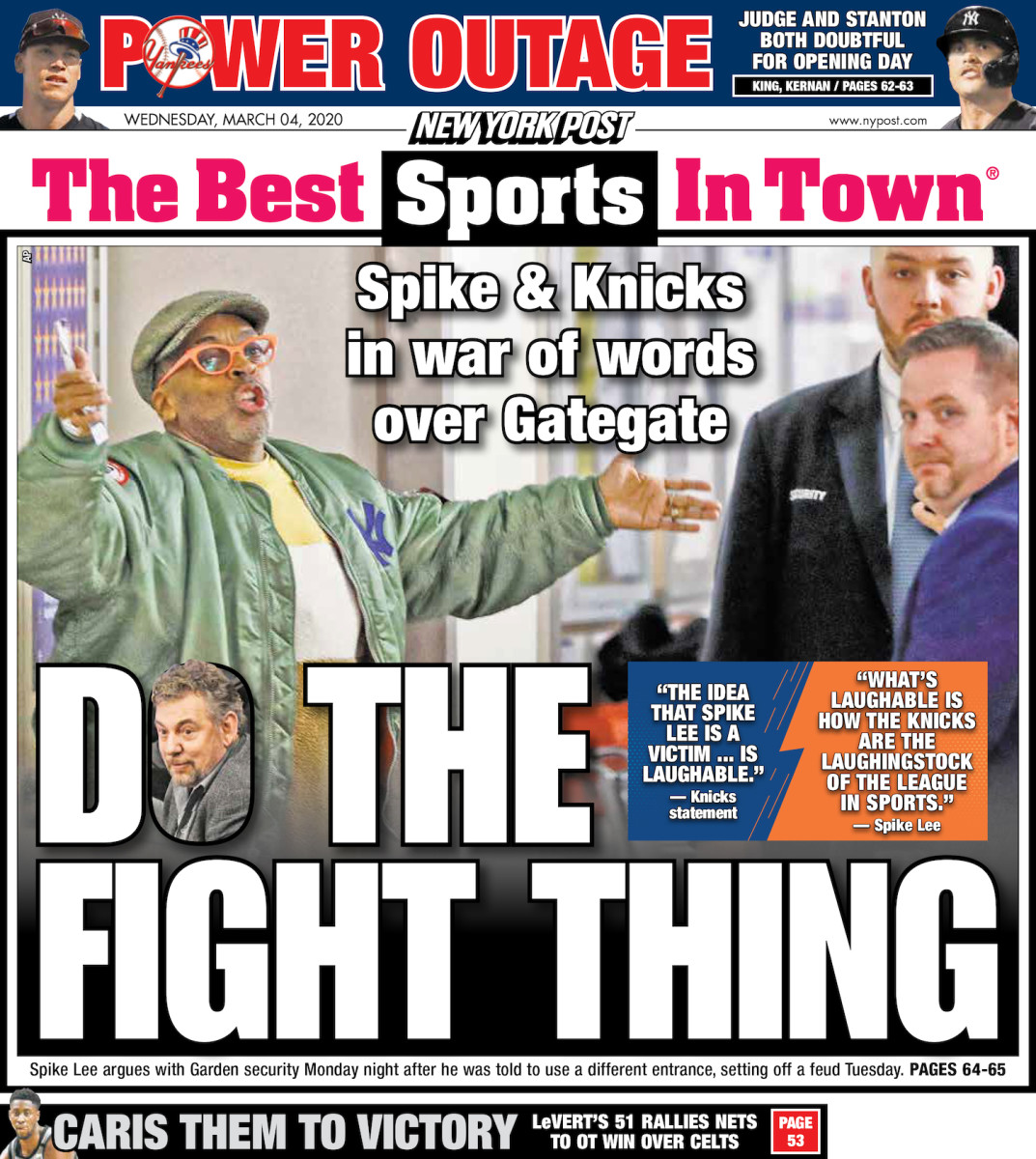 """The back page of the New York Post, featuring the Spike Lee """"Do the Fight Thing"""" headline"""