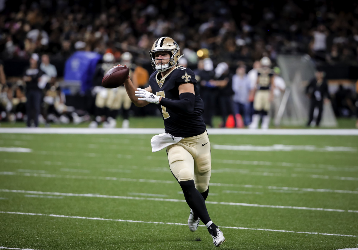 Aug 29, 2019; New Orleans, LA, USA; New Orleans Saints quarterback Taysom Hill (7) looks to throw against the Miami Dolphins during the second half of a preseason game at the Mercedes-Benz Superdome. Mandatory Credit: Derick E. Hingle-USA TODAY Sports