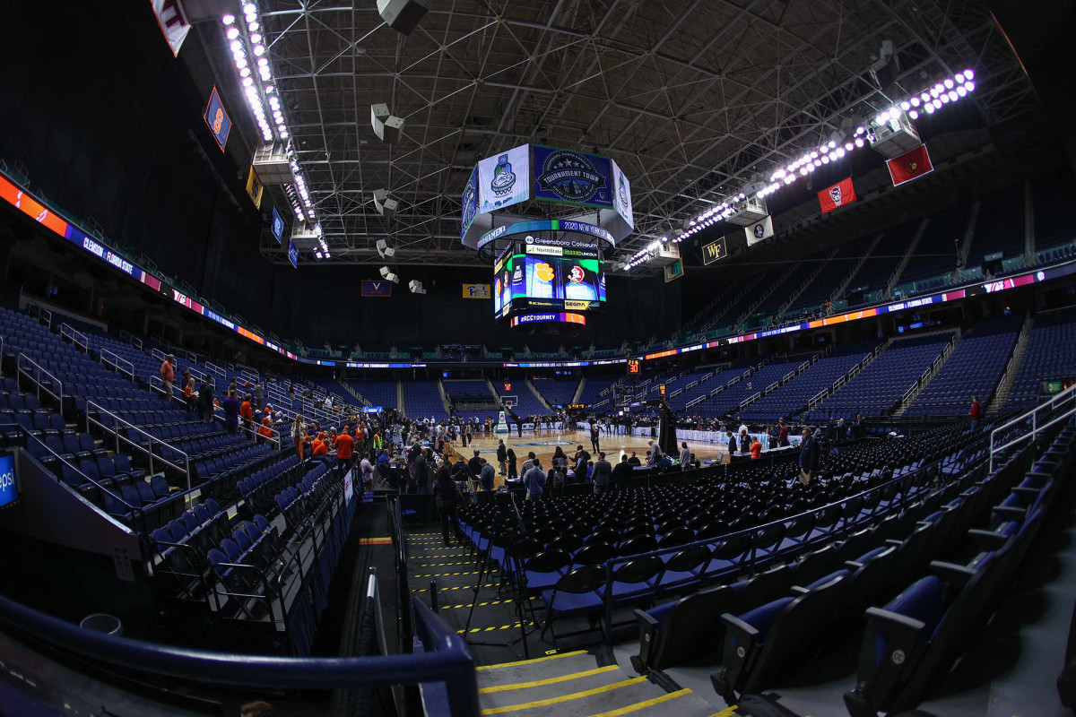 An empty Greensboro Coliseum ahead of the Clemson vs. Florida StateACC tournamentmen's basketball game.