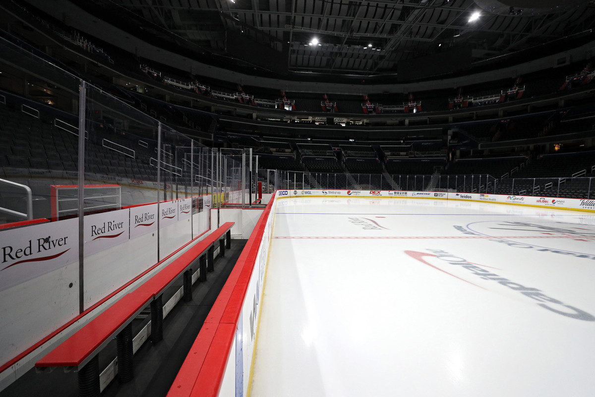 An empty Capital One Arena after the postponement of the Detroit Red Wings vs. Washington Capitals game.