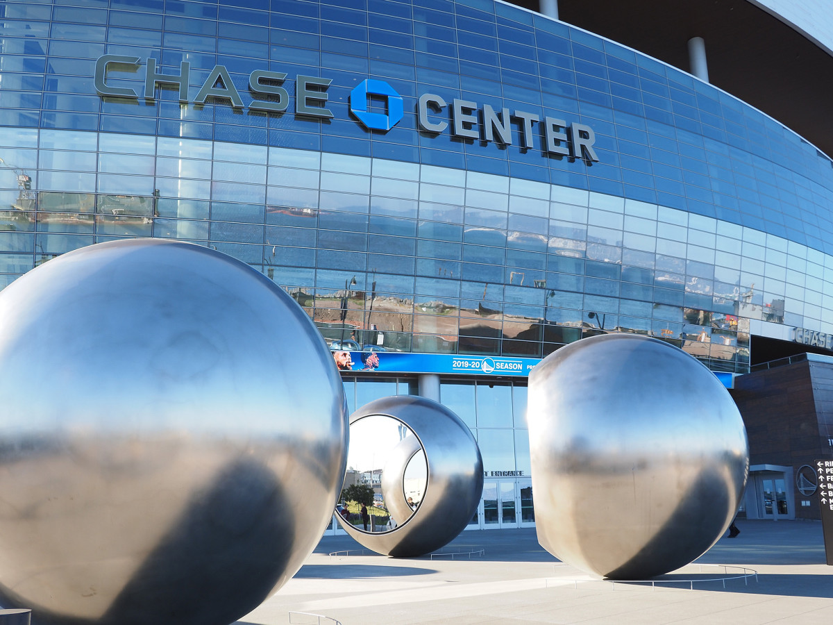 An empty plaza at Chase Center after the Nets vs. Warriors game was cancelled.