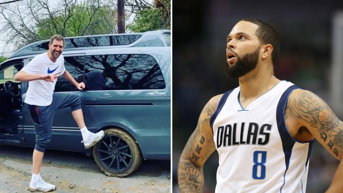 Split image of Dirk Nowitzki getting his van stuck in the mud and Deron Williams in a Dallas Mavericks jersey