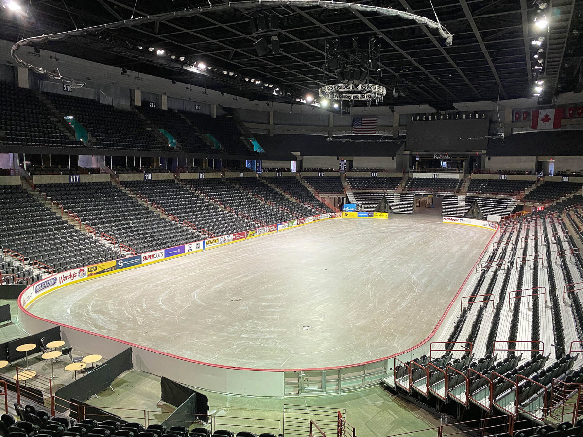 Spokane Arena, which was set to be a 2020 NCAA tournament site, instead sits empty.