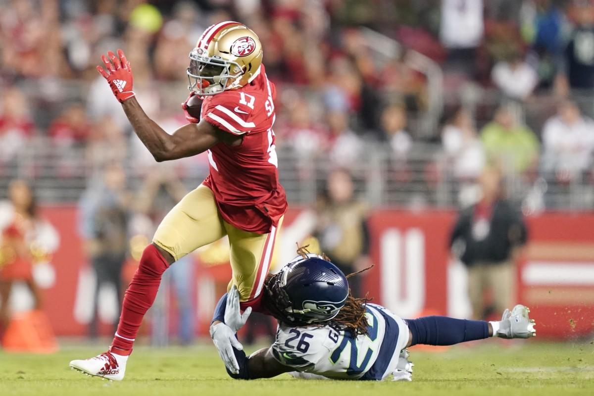 November 11, 2019; Santa Clara, CA, USA; San Francisco 49ers wide receiver Emmanuel Sanders (17) is tackled by Seattle Seahawks cornerback Shaquill Griffin (26) during the first quarter at Levi's Stadium. Mandatory Credit: Kyle Terada-USA TODAY Sports