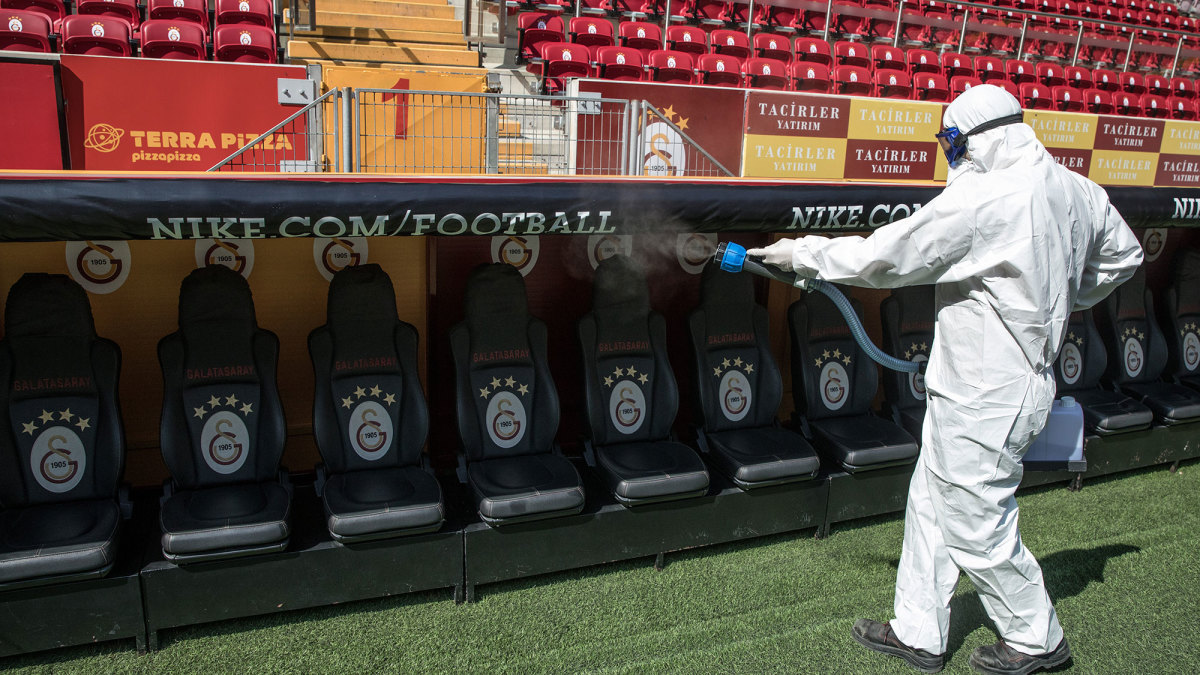 Galatasaray's stadium is disinfected before a match vs. Besiktas