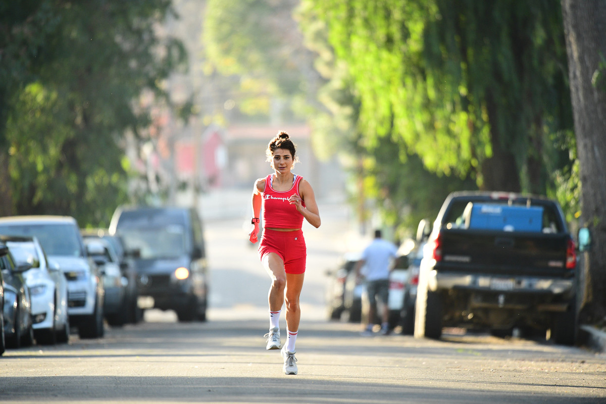 Pappas during a training session near her family home in the Woodland Hills neighborhood in California in January.