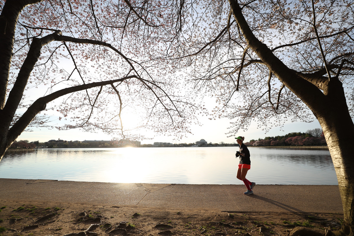 The streets of Washington, D.C., were empty, but runners plied theirs paths on an afternoon in mid-March.