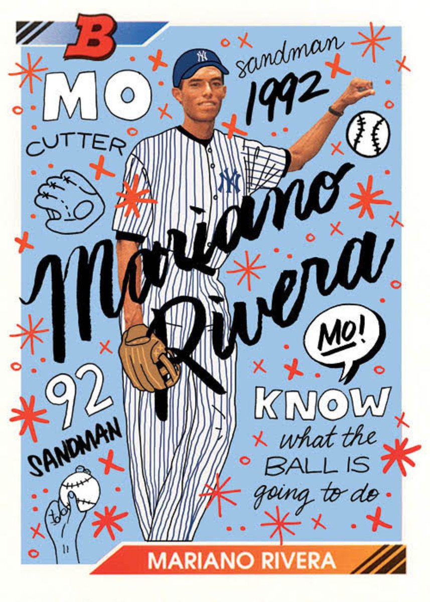 1992 Bowman Mariano Rivera card redesigned by Sophia Chang